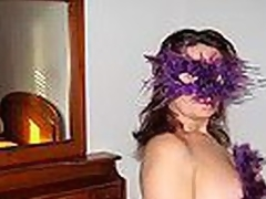 Big Spanish mature woman in cute bra with multicolor constituent shaped orthodoxy blows dong enervating a bizarre violet feather mask and listening to Santana's rendition of 'Black Magic Woman'.